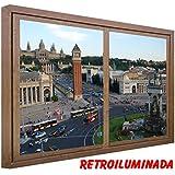 RETROILUMINADO. CUADRO VENTANA FALSA MONTGUIT BARCELONA (60_x_80_cms., MADERA)