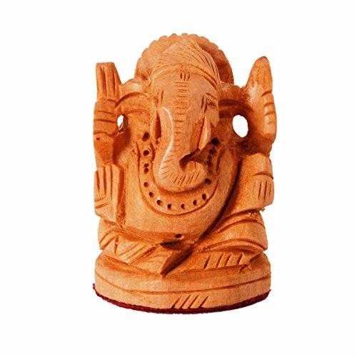 Purpledip Holz Idol Lord Ganesha (ganapathi, Ergänzen) für Tisch Top, Home Tempel, Auto Armaturenbrett; Feiner handgeschnitzt Kadam Holz Statue (11261)