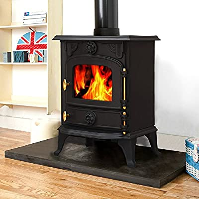 Lincsfire Saxilby JA013 6.5KW Multifuel Woodburning Stove Wood Burner Log Burning Fire Fireplace Cast Iron Woodburner