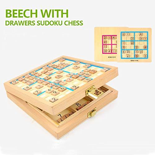 i-Funktions-Holz Sudoku Brettspiel Rosa Blau Drei-in-Eins-Spiel Schach Kinder intellektuelle Entwicklung Neun Quadrate Sudoku Toys ()