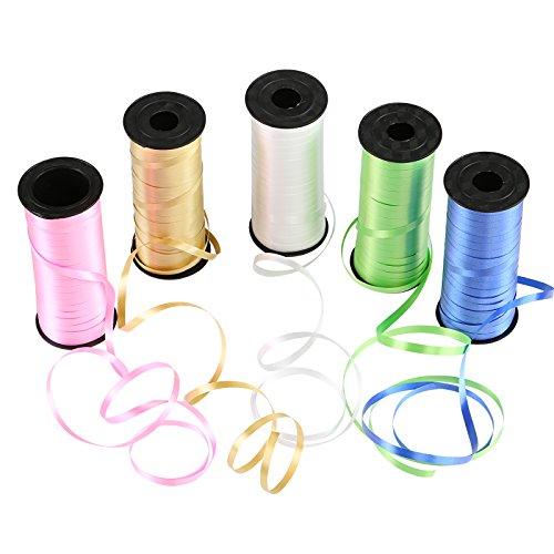Naler Geschenkband Polyband in 5 Farben Ringelband Deko Band für Ballonverschlüsse Geschenkverpackung Basteln (5 Rolle)
