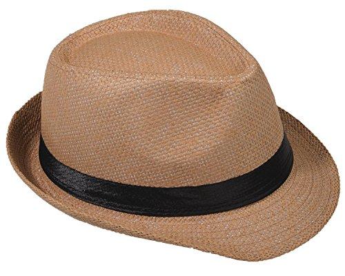 Strohhut Panama Fedora Trilby Gangster Hut Sonnenhut mit Stoffband Farbe:-Kamel (Strohhut) Gr:-58 Safari Panama