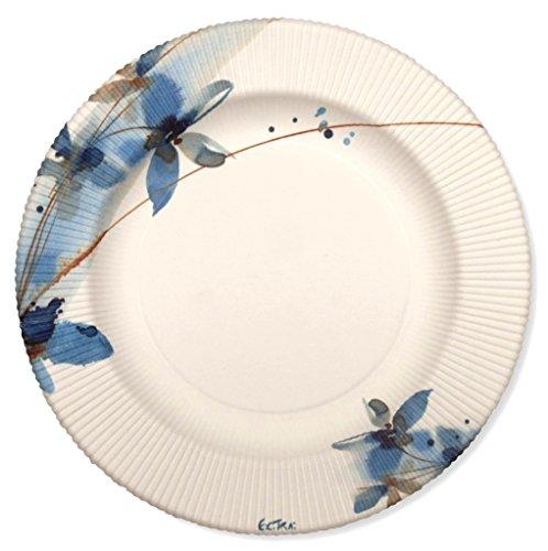 Assiettes Papier ligné de.21 cm 8PZ Blue Flowers