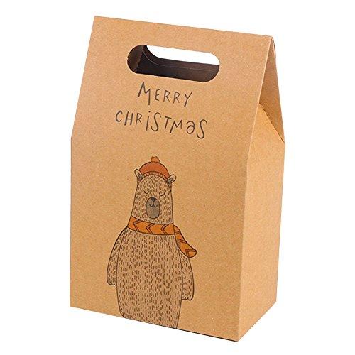 Papier Geschenk-Box Vintage Natural Hochzeit Party Candy Verpackung Staubbeutel Weihnachts Geburtstage Feiertage Santa Claus Elk Cartoon Geschenk Handheld klein Candybox 100 (Candy-wrapper-schmuck)