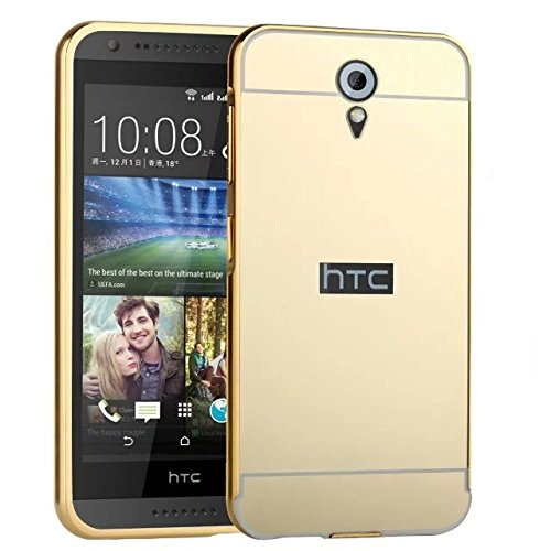 MOBI CASE Luxury Aluminum Metal Bumper with PC Mirror Back Cover Case For HTC Desire 620 620G (GOLD)