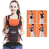 GBlife 4-en-1 Portabebés Ajustable Portadores para Infantil del Bebé Recién Nacido con Hebilla Backpack Baby Carrier(Naranja)