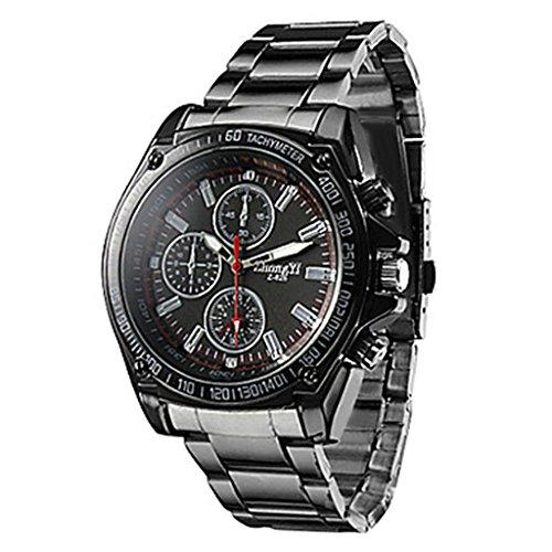 YPS Hombres Cuarzo Acero Negro Band reloj análogo WTH0812