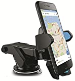 #8: QURVED(TM) Car Mount Mobile phone Holder for Interior Fittings Car Windshield, Dashboard & Working Desks (360 degree rotating - extendable Long neck – Wide arm lock - Strong sticky gel pad)
