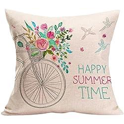 Cojines Decoracion Happy Sunmer Time Fundas de Almohada Sofas Vintage 45X45 (D)