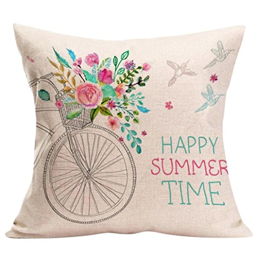 Funda Cojines Logobeing Cojines Decoracion Happy Sunmer Time Fundas de Almohada Sofas Vintage 45X45 (D)