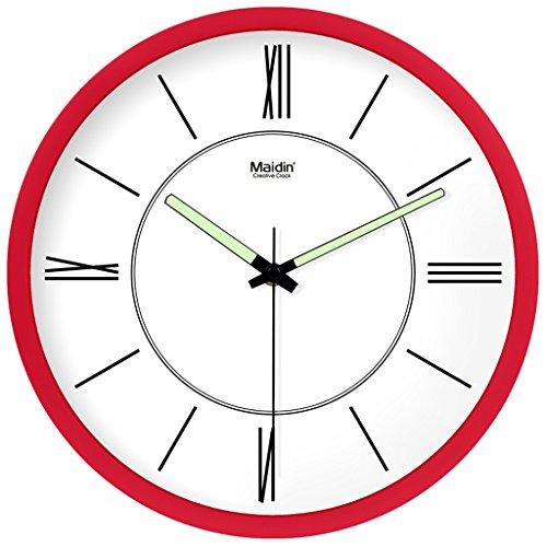 Waduo moderno elegante elegante colorato silenzioso non ticchettio da cucina/soggiorno orologio da parete (colore : rosso, dimensioni : 10 inches)