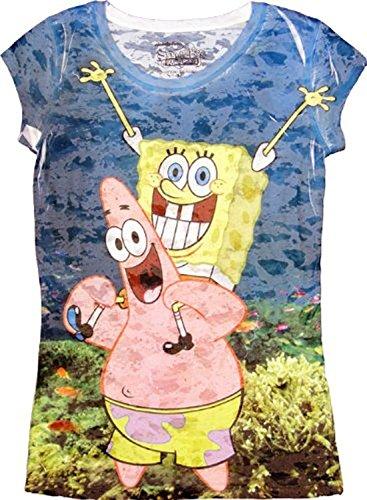 Bob l'éponge Bob sous-marine avec Patrick Par Sublimation Juniors T-shirt pour homme - Bleu - Small