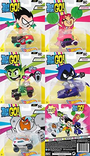 Hot Wheels DC Teen Titans Go Car Set 5 Autos Robin Starfire Beast Boy Raven Cyborg 1:64 DMH73
