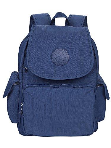 Rucksack Handtasche für Frauen, MINDESA Schultasche Kleine Leichte Nylon Wasserdichte Multi-Taschen Uni Freizeit Starke Daypack Rucksack für Mädchen, Damen *Tiefes Blau* (Multi-tasche Rucksack)