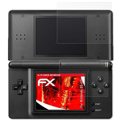atFoliX Panzerschutzfolie für Nintendo DS-Lite Panzerfolie - 3er Set FX-Shock-Antireflex blendfreie stoßabsorbierende Displayschutzfolie