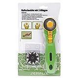 SEMPLIX Rollschneider Maxi 45 mm: Zusätzlich mit 3 Klingen, Gerade/Zickzack/Welle, mit Schutzmechanismus, zum Nähen und Handarbeiten, für Stoffe/Leder/Papier