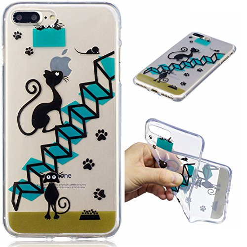 iPhone 7 Plus Hülle, Voguecase Silikon Schutzhülle / Case / Cover / Hülle / TPU Gel Skin für Apple iPhone 7 Plus/iPhone 8 Plus 5.5(Schwarze Katze 08) + Gratis Universal Eingabestift Schwarze Katze 08