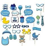 Baby Shower Fotorequisiten & Fotoaccessoires Blau Babyparty Junge Photo Booth (30er Set)
