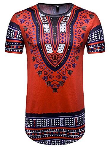 Whatlees Herren Urban Basic Lang Geschnittenes T-Shirt mit African Dashiki Druckmuster