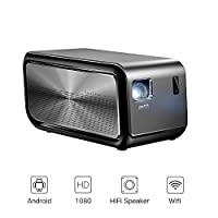 HD Projector, Mini Home Video Cinema Projectors with Android - JMGO 3D 1080P Full HD Smart WiFi Projector with Build-in Stereo Speaker Can Used As Bluetooth Speaker, 6000 Lumens 30000 Hours LED Life