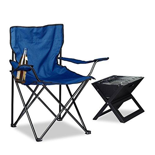 Relaxdays 10020931_45 sedia pieghevole campeggio con braccioli e portabevande, fodero per trasporto, blu, 50x78x81 cm