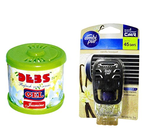 Debonair Combo - Debs 100gm Premium Car/Home/Office Air Freshener Gel - Jasmine& Ambi Pur Starter Kit 7. 5 ml - Vanilla Bouquet  available at amazon for Rs.445