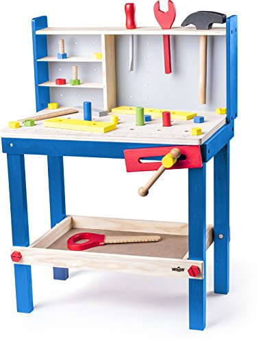 Woody Holzwerkbank für Kinder mit Zubehör. 24tlg