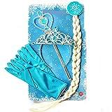 Frozen Kinder Prinzessin Set Eiskönigin Elsa mit Perücken-Zopf Diadem Krone Feenstab Handschuhe