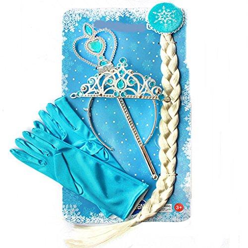 ssin Set Eiskönigin Elsa mit Perücken-Zopf Diadem Krone Feenstab Handschuhe (Frozen Perücke Für Erwachsene)