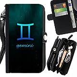 Graphic4You Gemini Zwillinge Horoskop Tierkreis Zeichen Design Zipper Brieftasche mit Strap Hülle Tasche Schale Schutzhülle für Samsung Galaxy Ace NXT