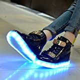 Monika Creations Unisex USB Rechargeable Black High Top LED Metal Velcro Flashing Simulation Shoes Sneaker - Light Up your Personality (7UK/India (40EU))