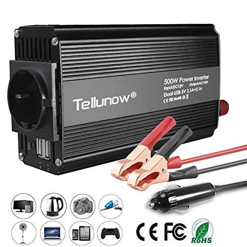 Convertisseur, 500W Onduleur 12V 220V à 240V Transformateur de Tension pour Voiture, avec 4.2A Double USB Et 1 Sorties AC, Affichage LED pour Smartphones, Tablette, Ordinateur Portable, Nébuliseur