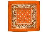 shenky 12er Pack Bandana Kopftuch Bikertuch Halstuch Paisley Muster Hunde Tuch Tücher schwarz apfelgrün rot weiß 100% Baumwolle (orange)
