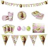 Partyset Pferdeglück 51-teilig Teller, Becher, Servietten, Luftballons, Wimpelkette, Partytüten, Happy Birthday-Girlande und Tischdecke