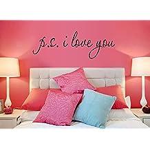 """LifeUp- """"P.S. I Love You"""" Adesivi Murali Frasi, Camera da Letto Soggiorno Adesivi da Parete Removibili/Stickers Murali/Decorazione Murale, regalo originale"""