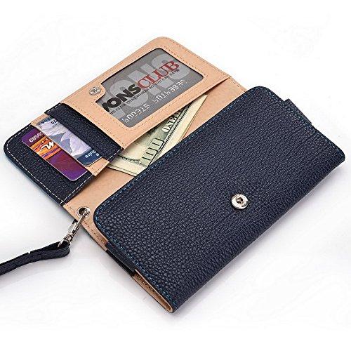 Kroo Pochette Téléphone universel Femme Portefeuille en cuir PU avec sangle poignet pour Xolo Q900T/Win Q900s noir - noir Bleu - bleu