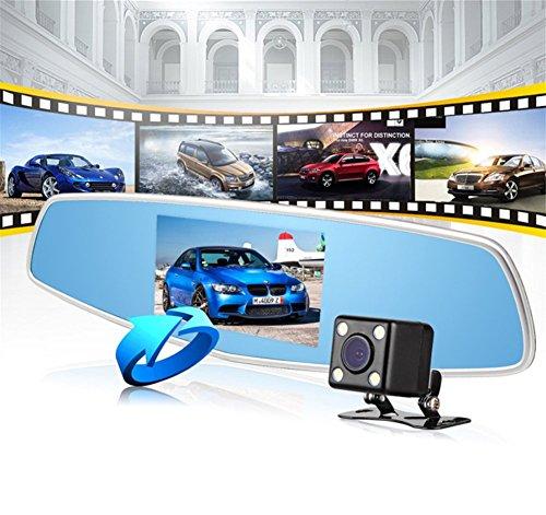 SHISHANG Rückspiegel Doppel-Spiegel Fahren Recorder 5-Zoll-Großbild-Dual-Objektiv HD Fahren Recorder 170-Grad-Weitwinkel