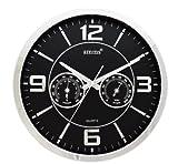 Orologio da parete silenzioso, al quarzo, con termometro e igrometro, colore: acciaio e nero