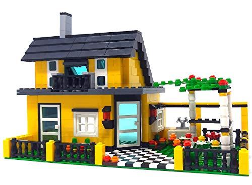 Bausteine Haus Einfamilienhaus mit Garten und Balkon, Modular Building, 449 Klemmbausteine