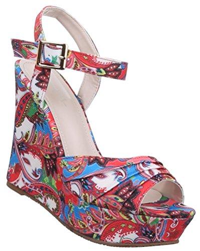 Damen Sandaletten Schuhe Pumps Plateau Heels Stilettos Keilabsatz Wedges Plateau schwarz blau rot camel 36 37 38 39 40 41 Rot