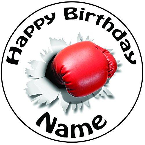 Personalisierter Boxhandschuh Schlag Zuckerguss Kuchen Topper / Kuchendekoration - 20 cm Großer Kreis - Jeder Name Und Jedes Alter