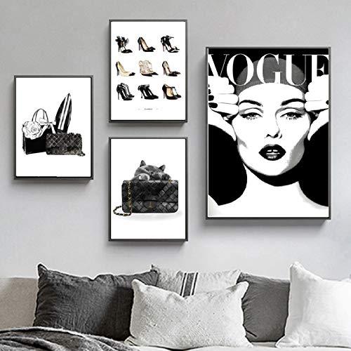 XWArtpic Vogue Mädchen High Heels Mode Tasche Katze Wandkunst Leinwand Malerei Nordic Poster Und Drucke Wandbilder Für Wohnzimmer Decor X 4 stücke