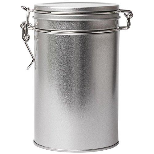 850ML groß rund Clip Dose in Silber | erhältlich in Packungen von 1,3oder 6| Mehrzweck-Aufbewahrung–Ideal für oder Tee, Kaffee, Gewürze, konfekt, Badesalz, Kosmetik etc.., metall, silber, 1 tin