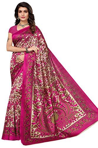 CRAFTSTRIBE Bollywood Vestido de Fiesta Impreso Tradicional Vestido Indio Boda Arte Seda Sari Moda Mujeres