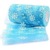 Rollo 22,7 metro Cinta Tela Tul con Nieve Tulle Ancho 15cm Decoración Hogar Boda Navidad Fiesta Manualidades Costura DIY Envolver Regalos Tutú Falda Azul