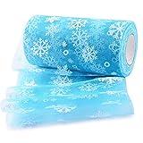 BUONDAC 22,5 m Tüll Stoff 15 cm breit mit Schneeflocken-Muster Tüllband für Weihnachten Hochzeit Party Deko Zierband Rolle Dekostoff Dekoband (Blau, mit Schneeflocken Muster)