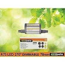 ECOBELLE® Lampadina LED R7s, 270°, 6W, 750 Lumen, con Funzione Dimmer, Bianco Caldo 3000K, Lunghezza: 78 mm, Altezza attacco: 6mm (maggiore flessibilita' nell'installazione), Lampadina Corta