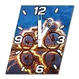 Fahrrad, Design Wanduhr aus Alu Dibond zum Aufhängen, 30 cm Durchmesser, breite Zeiger, schöne und moderne Wand Dekoration, mit qualitativem Quartz Uhrwerk