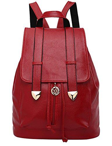 Menschwear PU Zaino Satchel Daypack sacchetto di scuola Nero Vino Rosso