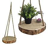 Spetebo Baumscheibe Zum Hängen - Ø 32cm - Deko Hänge Tablett Astscheibe Holz Blumenampel